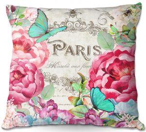 Decorative Outdoor Patio Pillow Cushion | Tina Lavoie - Paris Flower Market 2 | France Floral