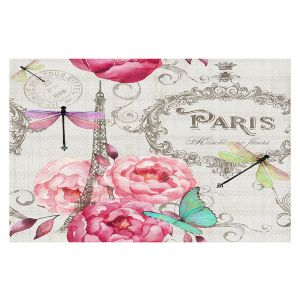 Decorative Floor Coverings | Tina Lavoie - Paris Flower Market Pattern | France Floral Butterfly Eiffel Tower Dragonfly
