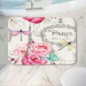 Decorative Bathroom Mats | Tina Lavoie - Paris Flower Market Pattern | France Floral Butterfly Eiffel Tower Dragonfly