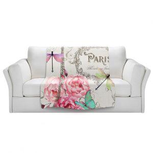 Unique Sherpa Blankets from DiaNoche Designs by Tina Lavoie - Paris Flower Market Pattern