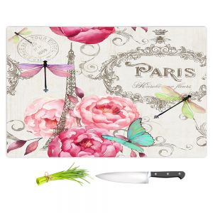 Artistic Kitchen Bar Cutting Boards | Tina Lavoie - Paris Flower Market Pattern | France Floral Butterfly Eiffel Tower Dragonfly