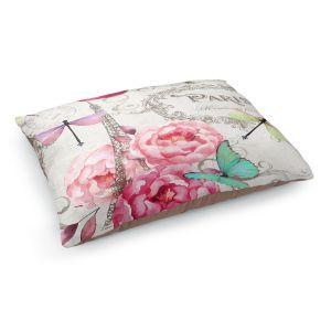 Decorative Dog Pet Beds | Tina Lavoie - Paris Flower Market Pattern | France Floral Butterfly Eiffel Tower Dragonfly