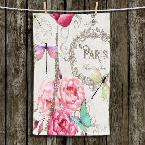 Unique Hanging Tea Towels | Tina Lavoie - Paris Flower Market Pattern | France Floral Butterfly Eiffel Tower Dragonfly
