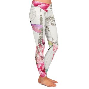Casual Comfortable Leggings | Tina Lavoie - Paris Flower Market Pattern | France Floral Butterfly Eiffel Tower Dragonfly