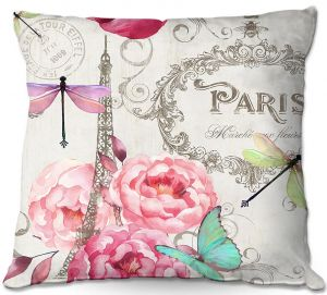 Decorative Outdoor Patio Pillow Cushion | Tina Lavoie - Paris Flower Market Pattern | France Floral Butterfly Eiffel Tower Dragonfly