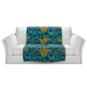 Artistic Sherpa Pile Blankets | Tina Lavoie - Peacock Gold | Abstract Peacock Feathers Boho Chic