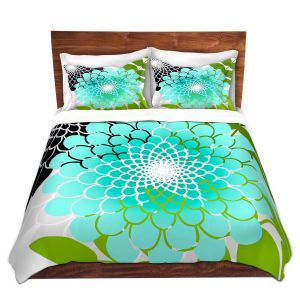 Artistic Duvet Covers and Shams Bedding | Tina Lavoie - Rainforest | Abstract Florals Boho Chic