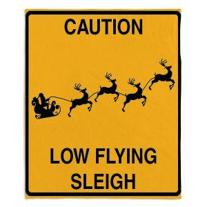 Decorative Fleece Throw Blankets | Tina Lavoie - Santa Crossing | Holiday Santa Reindeer