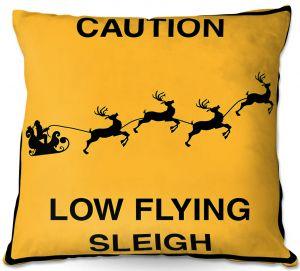 Throw Pillows Decorative Artistic | Tina Lavoie - Santa Crossing | Holiday Santa Reindeer