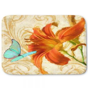 Decorative Bathroom Mats | Tina Lavoie - Satsuma Day Lily l | Flower Florals Butterfly Vintage
