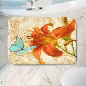 Decorative Bathroom Mats | Tina Lavoie - Satsuma Day Lily l | Flower Florals Butterfly Vintage