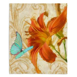 Artistic Sherpa Pile Blankets | Tina Lavoie - Satsuma Day Lily l | Flower Florals Butterfly Vintage