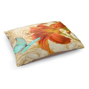 Decorative Dog Pet Beds | Tina Lavoie - Satsuma Day Lily l | Flower Florals Butterfly Vintage