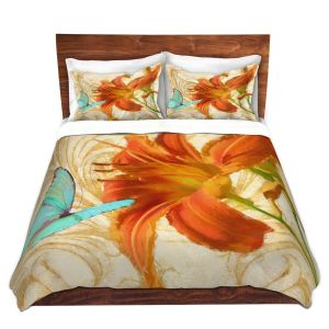 Artistic Duvet Covers and Shams Bedding   Tina Lavoie - Satsuma Day Lily l   Flower Florals Butterfly Vintage