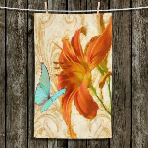 Unique Bathroom Towels | Tina Lavoie - Satsuma Day Lily l | Flower Florals Butterfly Vintage