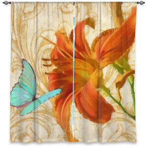 Decorative Window Treatments | Tina Lavoie - Satsuma Day Lily l | Flower Florals Butterfly Vintage