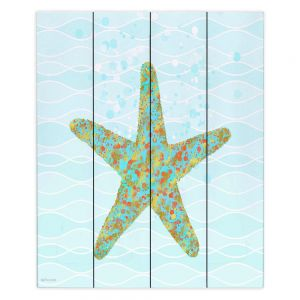 Decorative Wood Plank Wall Art | Tina Lavoie - Stella Starfish | Ocean Nature Sealife