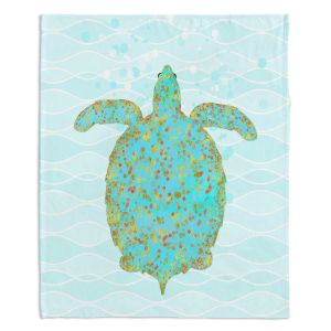 Decorative Fleece Throw Blankets | Tina Lavoie - Tucker Turtle | Ocean Nature Sealife