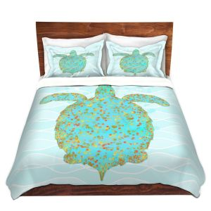 Artistic Duvet Covers and Shams Bedding | Tina Lavoie - Tucker Turtle | Ocean Nature Sealife