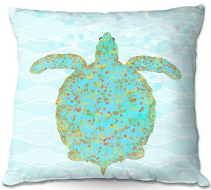 Throw Pillows Decorative Artistic | Tina Lavoie - Tucker Turtle | Ocean Nature Sealife