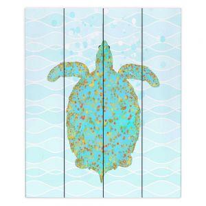 Decorative Wood Plank Wall Art | Tina Lavoie - Tucker Turtle | Ocean Nature Sealife