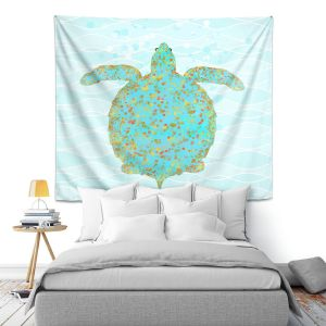 Artistic Wall Tapestry | Tina Lavoie - Tucker Turtle | Ocean Nature Sealife