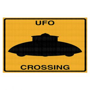 Decorative Floor Coverings | Tina Lavoie - UFO Crossing | UFO Flying Saucer Childlike