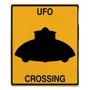 Decorative Fleece Throw Blankets   Tina Lavoie - UFO Crossing   UFO Flying Saucer Childlike