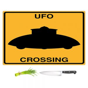Artistic Kitchen Bar Cutting Boards | Tina Lavoie - UFO Crossing | UFO Flying Saucer Childlike
