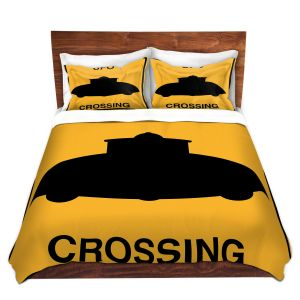 Artistic Duvet Covers and Shams Bedding | Tina Lavoie - UFO Crossing | UFO Flying Saucer Childlike