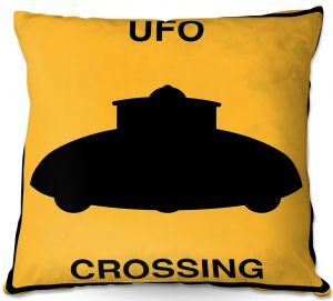 Throw Pillows Decorative Artistic | Tina Lavoie - UFO Crossing | UFO Flying Saucer Childlike