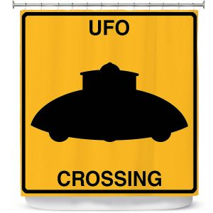 Premium Shower Curtains | Tina Lavoie - UFO Crossing | UFO Flying Saucer Childlike