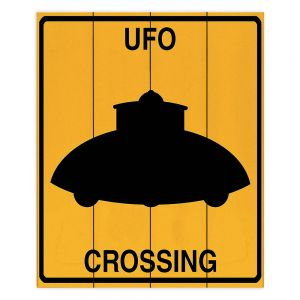 Decorative Wood Plank Wall Art | Tina Lavoie - UFO Crossing | UFO Flying Saucer Childlike