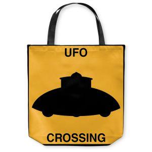 Unique Shoulder Bag Tote Bags | Tina Lavoie - UFO Crossing | UFO Flying Saucer Childlike