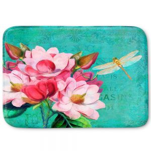 Decorative Bathroom Mats | Tina Lavoie - Verdigris | Flowers Dragonfly Florals Vintage