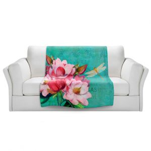 Artistic Sherpa Pile Blankets | Tina Lavoie - Verdigris | Flowers Dragonfly Florals Vintage