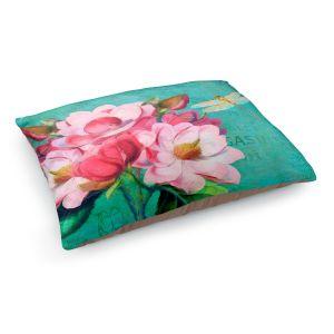 Decorative Dog Pet Beds | Tina Lavoie - Verdigris | Flowers Dragonfly Florals Vintage