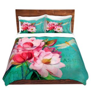 Artistic Duvet Covers and Shams Bedding | Tina Lavoie - Verdigris | Flowers Dragonfly Florals Vintage
