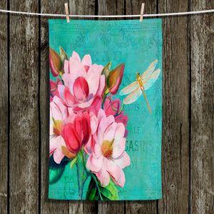 Unique Bathroom Towels | Tina Lavoie - Verdigris | Flowers Dragonfly Florals Vintage
