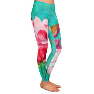Casual Comfortable Leggings | Tina Lavoie - Verdigris | Flowers Dragonfly Florals Vintage