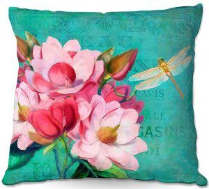 Throw Pillows Decorative Artistic | Tina Lavoie - Verdigris | Flowers Dragonfly Florals Vintage