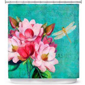 Premium Shower Curtains | Tina Lavoie - Verdigris | Flowers Dragonfly Florals Vintage
