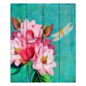 Decorative Wood Plank Wall Art   Tina Lavoie - Verdigris   Flowers Dragonfly Florals Vintage