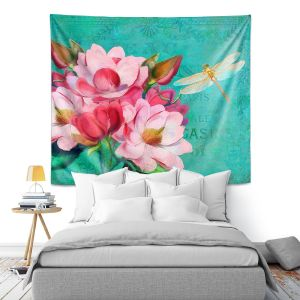 Artistic Wall Tapestry | Tina Lavoie - Verdigris | Flowers Dragonfly Florals Vintage