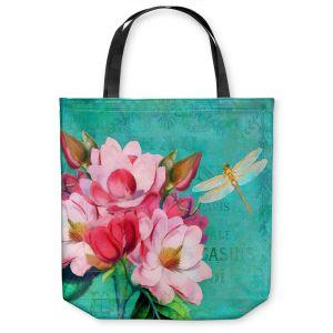 Unique Shoulder Bag Tote Bags   Tina Lavoie - Verdigris   Flowers Dragonfly Florals Vintage