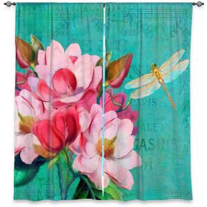 Decorative Window Treatments | Tina Lavoie - Verdigris | Flowers Dragonfly Florals Vintage