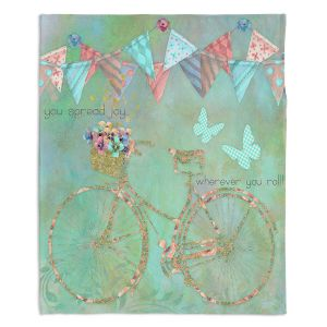 Decorative Fleece Throw Blankets | Tina Lavoie - You Spread Joy | Spring Bicycle Peace Butterfly