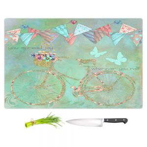 Artistic Kitchen Bar Cutting Boards | Tina Lavoie - You Spread Joy | Spring Bicycle Peace Butterfly