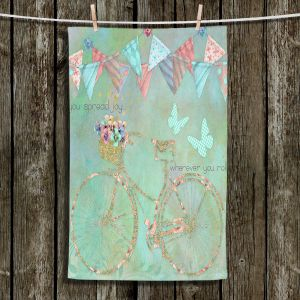 Unique Hanging Tea Towels | Tina Lavoie - You Spread Joy | Spring Bicycle Peace Butterfly