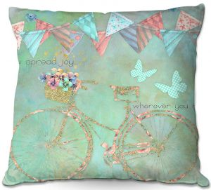 Decorative Outdoor Patio Pillow Cushion | Tina Lavoie - You Spread Joy | Spring Bicycle Peace Butterfly
